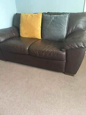 2 And 3 Seater Brown Leather Sofas • 200£
