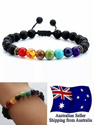 AU7.95 • Buy Chakra Healing Lava Stone Bracelet 7 Bead Oil Diffuser Adjustable Woven Rope 1pc