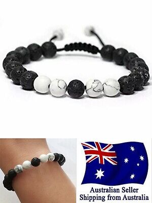 AU7.95 • Buy Healing White Black Lava Stone Bracelet Oil Diffuser Adjustable Woven Rope 1pc