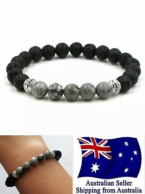 AU5.75 • Buy New Chakra Bracelet Healing Lava 8mm 5 Grey Bead Oil Diffuser Aromatherapy 1pc