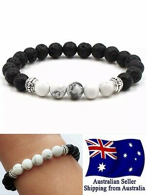 AU5.75 • Buy New Chakra Bracelet Healing Lava 8mm 5 White Bead Oil Diffuser Aromatherapy 1pc