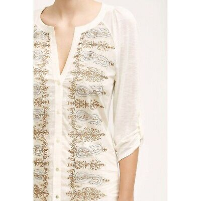 $ CDN17.67 • Buy Anthropologie Shimmered Eden Buttondown By Tiny Embroidered Henley Sz S $88