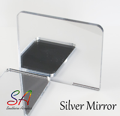 Silver Mirror Acrylic 3mm Thick Sheets Sample, A5, A4, A3, 200mm-600mm • 31.16£