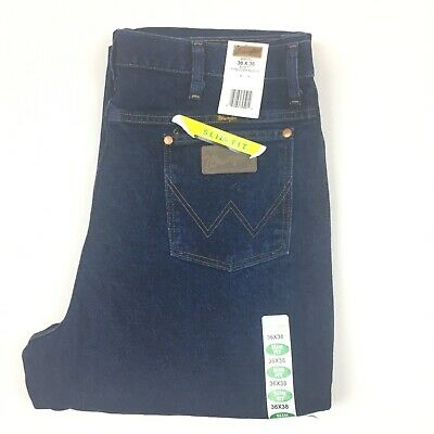 a86714b6 Wrangler Mens Slim Fit Boot Cut Dark Blue Jeans 36x38 Non Washed Raw 936DSD  NWT •