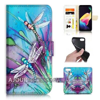 AU12.99 • Buy ( For Huawei Y7 2018 ) Wallet Flip Case Cover AJ21094 Blue Dragonfly Paint
