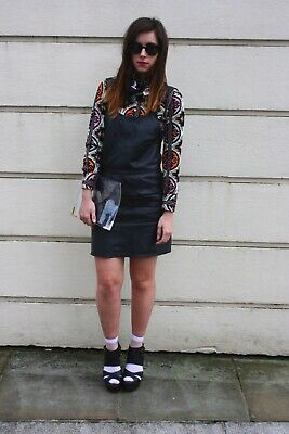 Topshop Boutique Real Leather Pinafore Size 8 • 49.99£