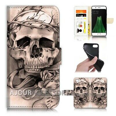 AU12.99 • Buy ( For Oppo A57 ) Wallet Flip Case Cover AJ21692 Skull