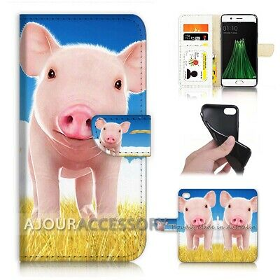 AU12.99 • Buy ( For Oppo A57 ) Wallet Flip Case Cover AJ21734 Cute Baby Pig