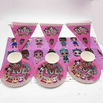 Lol Surprise Dolls Candy Popcorn Box Tablecover Party Bags Plates Cups Balloon • 3.29£
