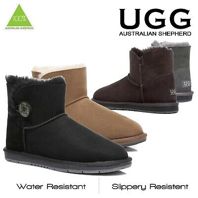 AU70 • Buy Ugg Boots Sheepskin Classic Mini Button Australian Ladies Black Sizes 35-41 EU