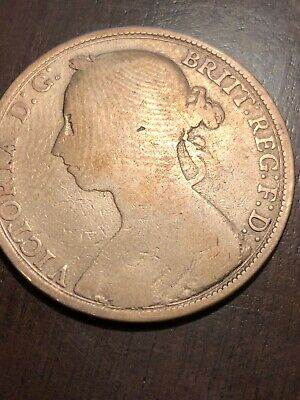 $2.95 • Buy 1891 Queen Victoria Young Head One Penny Coin
