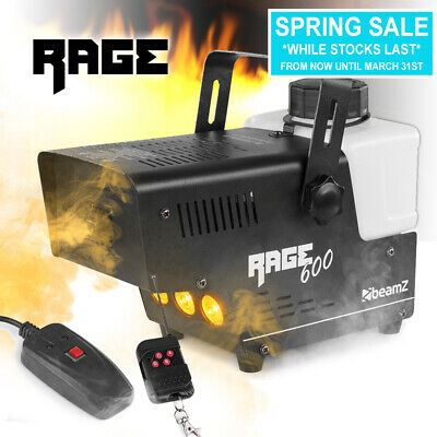 DJ Smoke Machine With Amber LED Flame Effect Disco Party Stage Wireless Remote • 41.99£