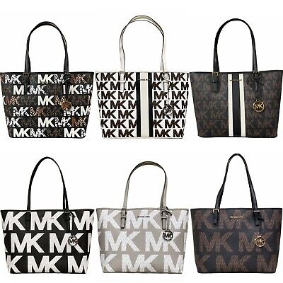 7ed1eb8212fe Michael Kors Jet Set Medium Carryall Tote MK Signature Brown Vanilla Pink  Black • 89.99$