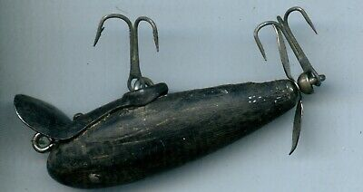$ CDN6.29 • Buy Vintage Black Paw Paw Wooden 2 Hook Lure 3 Inches Long Used #18