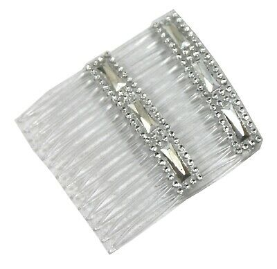2 Clear Grip Hair Combs Slides 7cm With Silver & Diamontie Diamante Effect  • 1.95£