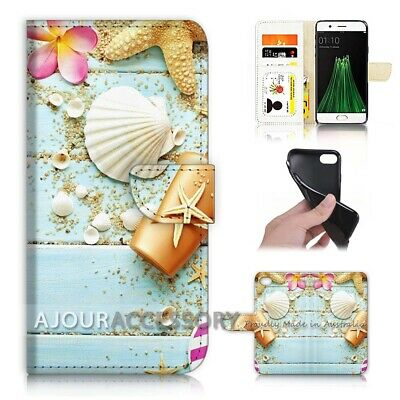 AU12.99 • Buy ( For Oppo A57 ) Wallet Flip Case Cover AJ21437 Shell Starfish