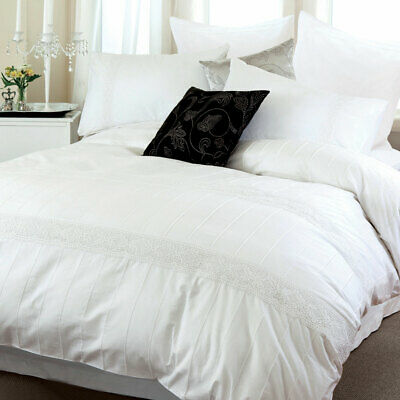 AU58.90 • Buy Elisa White Quilt Cover Crochet Pintuck Doona Cover Set / Optional Cushion Cover