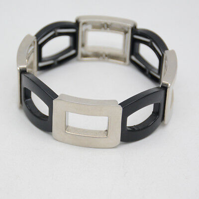 $ CDN10.11 • Buy Lia Sophia Two Tone Silver Black Rectangle Tennis Bangle Stretch Bracelet