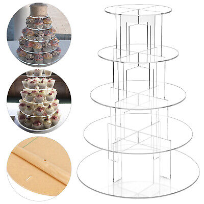 £22.89 • Buy Clear Acrylic Round Cupcake Stand Display Wedding&Party 5 Tier Cup Cake Holder