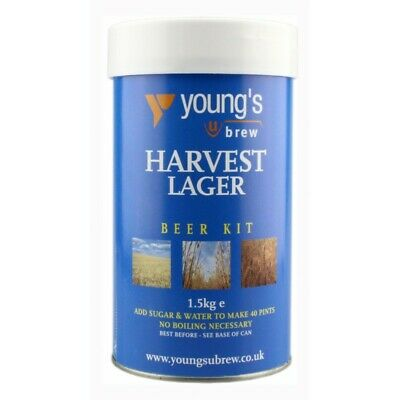 Youngs Harvest Lager Kit - 40 Pint - Homebrew - Beer Brewing - Wine Making - FRE • 17.95£