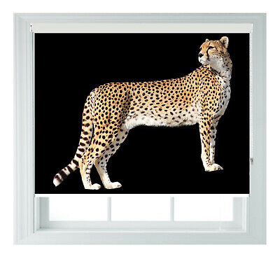 Cheetah On Black Photo Printed Blackout Roller Blinds 2 3 4 5ft • 65£