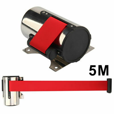 Wall Mount Queue Barrier Rope Posts Crowd Control Ribbon-Retractable 5M Belts • 9.59£