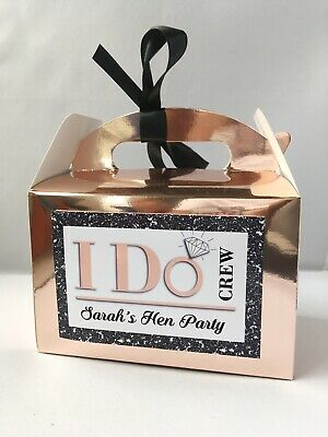 Personalised Hen Party I DO CREW Rose Gold Metallic Empty Favour Gift Box • 1.25£
