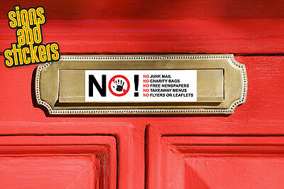 No Junk Mail Letter Box Sign Sticker - No Takeaway Menus No Charity Bags • 1.47£