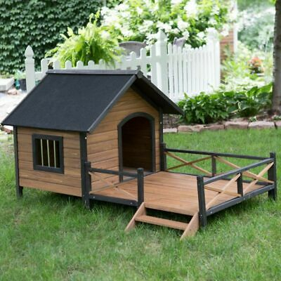 $399.99 • Buy Dog House Pet Wood Outdoor Shelter Kennel Large Weather Home Porch Resistant New