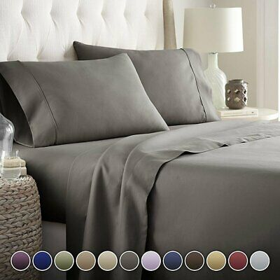 AU37.99 • Buy Ultra Soft 1800TC 4Pcs Sheet Set Flat Fitted Sheet&Pillowcase Double Queen King