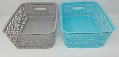 Set Of 2 Handy Storage Baskets Tidy Light Blue Grey Colours 2 Sizes Available • 5.69£