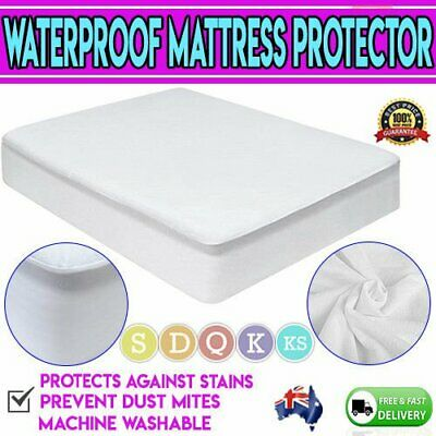 AU26.99 • Buy Cotton Terry Mattress Bed Matress Protector Waterproof Single King Queen Double