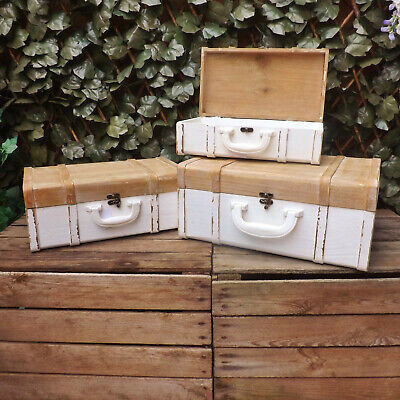 White Natural Rustic Wooden Suitcase Wedding Display Home Storage Box Shop Prop • 23.49£
