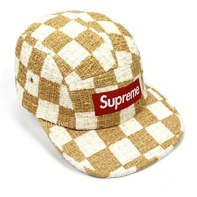 $ CDN132.73 • Buy NWT Supreme NY Tan White Red Box Logo Checkerboard Boucle Cap Cap Hat AUTHENTIC