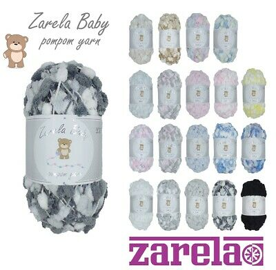 Zarela Baby Pom Pom Yarn Wool 200g ***VARIOUS COLOURS*** Pompom • 6.99£
