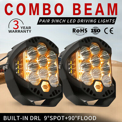 AU209.99 • Buy 2X 9 Inch CREE LED Driving Lights Round Spot Lights Built-in DRL Combo Beam