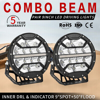 AU219.99 • Buy 2X 9 Inch CREE LED Driving Lights Round Spot Built-in DRL & Indicator Combo Beam