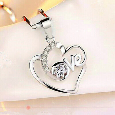 £2.99 • Buy Crystal Heart Pendant 925 Sterling Silver Jewellery Necklace Chain Women Gifts