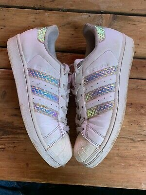 $19.95 • Buy Adidas Womens 6.5 Iridescent Shoes Sneakers CG3596 Fashion Hologram Superstar