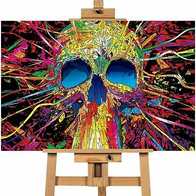 Colourful Skull Contemporary Picture Canvas Art Wall Print • 29.99£