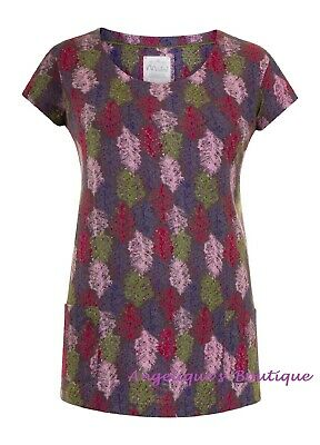 £13.99 • Buy Mistral Feather Confetti Purple Pink Green Cotton Jersey Tunic Top Sz 8-18 New