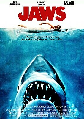 Jaws Vintage Movie Poster Film A4 A3 Art Print Cinema 0 • 16.25£