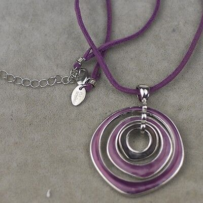 $ CDN10.44 • Buy Lia Sophia Jewelry Purple Leather Chain Enamel Pendant Texture Free Shipping