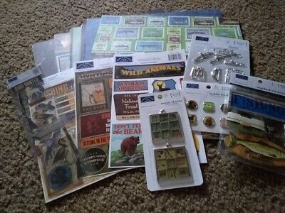 $24.99 • Buy Lot 30 Craft Scrapbooking 12X12 Paper Stickers Embellishments Hunting Fishing