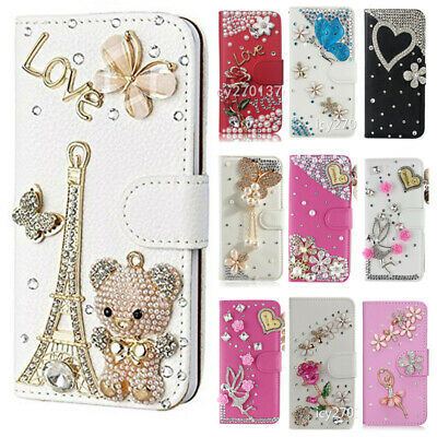 3D Nice Flip Bling Wallet Stand Case Crystal PU Leather Phone Cover & 2 Straps • 9.98£