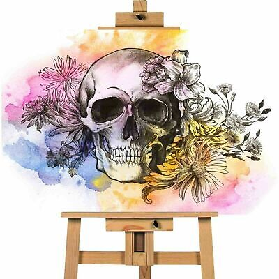 Skull Flowers Contemporary Picture Canvas Art Wall Print • 17.99£