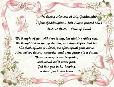 We Thought Of You Today Personalized Poem In Loving Memory Of Your Goddaughter • 6.75£