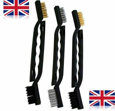 6 Pc Small Hand Rust Treatment Remover Wire Brush Set 2 Steel, 2 Brass, 2 Nylon • 2.60£