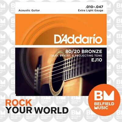 AU13.99 • Buy D'Addario EJ10 Acoustic Guitar Strings 80/20 Bronze 10-47 Extra Light