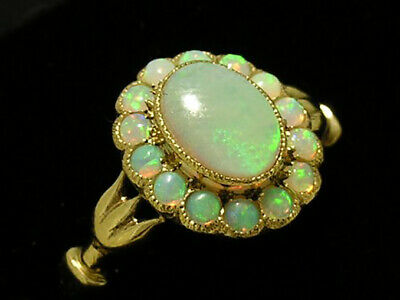 AU456.18 • Buy Genuine 9K 9ct Gold Natural Opal Oval Cluster Ring Victorian Style In Your Size